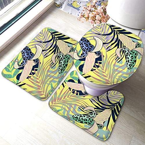 快適なフランネル浴室敷物マットセット3ピース装飾バナナ野生のヒョウの着色危険なU字型輪郭トイレマットが含まれています