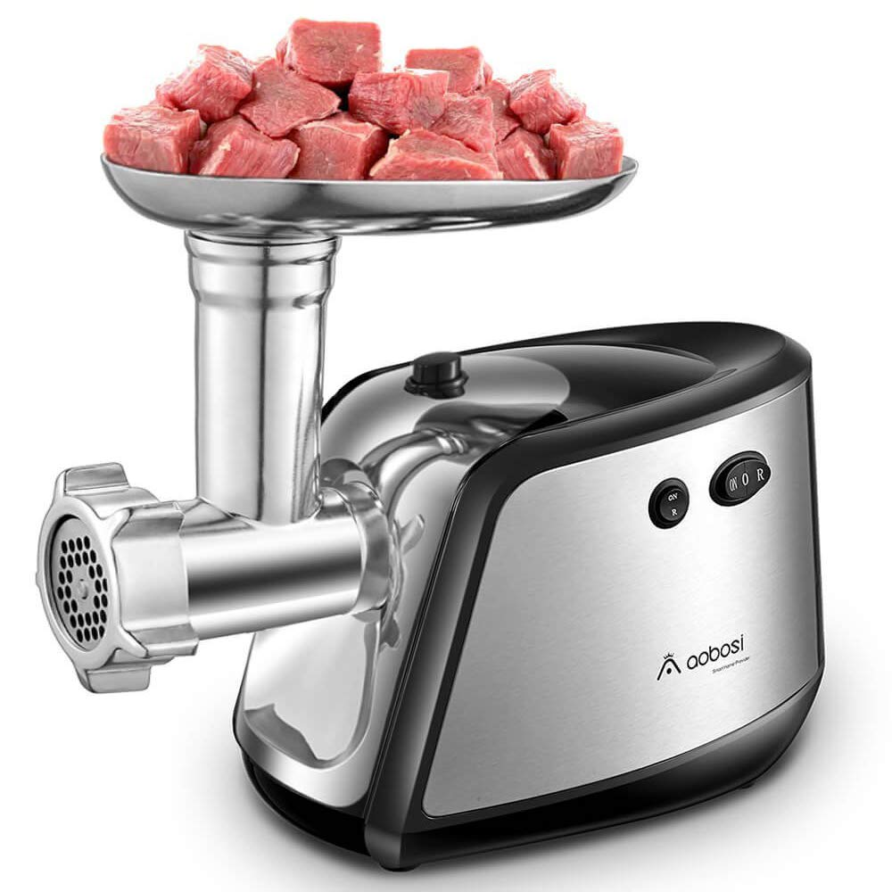Aobosi Electric Meat Grinder Heavy Duty (1200 Watts) Stainless Steel Meat Mincer with 3 Stainless Steel Grinding Plates,Kubbe & Sausage Attachment