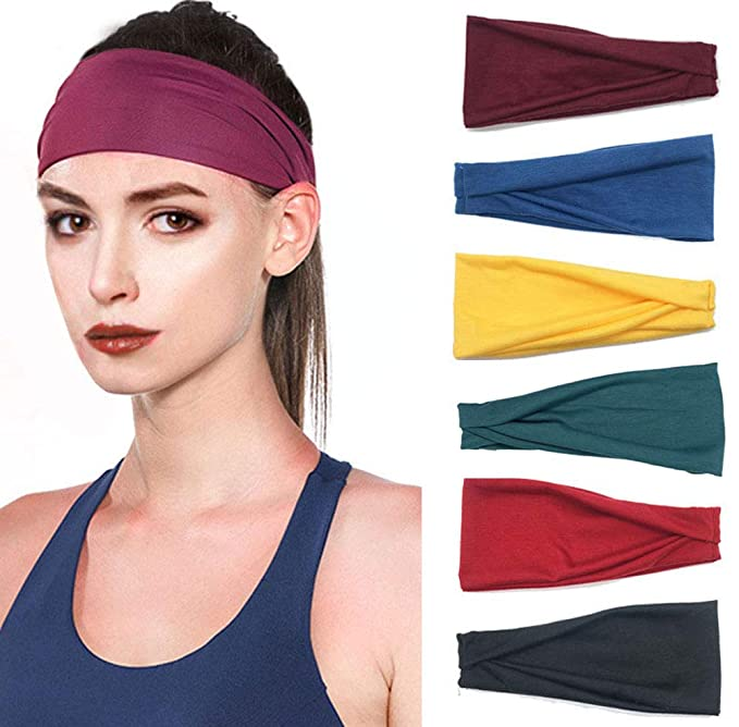 6 Pack Set Womens Yoga Running Headbands Sports Workout Hair Bands
