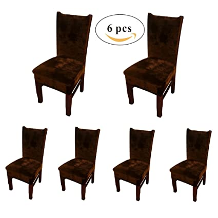 My Decor Dining Chair Covers Velvet Spandex Fabric Stretch Dining Room Chair  Slipcovers Protctor Covers,