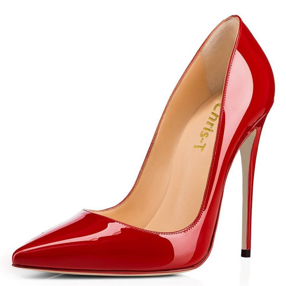 Chris-T Womens Formal Pointed Toe Pumps Basic Shoes High Heel Stilettos Sexy Slip On Dress Shoes Size 4-15 US B075F6FSM6 8 B(M) US|Red/Red S0le(bottom)