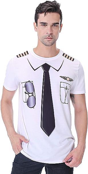 COSAVOROCK Disfraz de Piloto para Hombre Camiseta: Amazon.es: Ropa ...