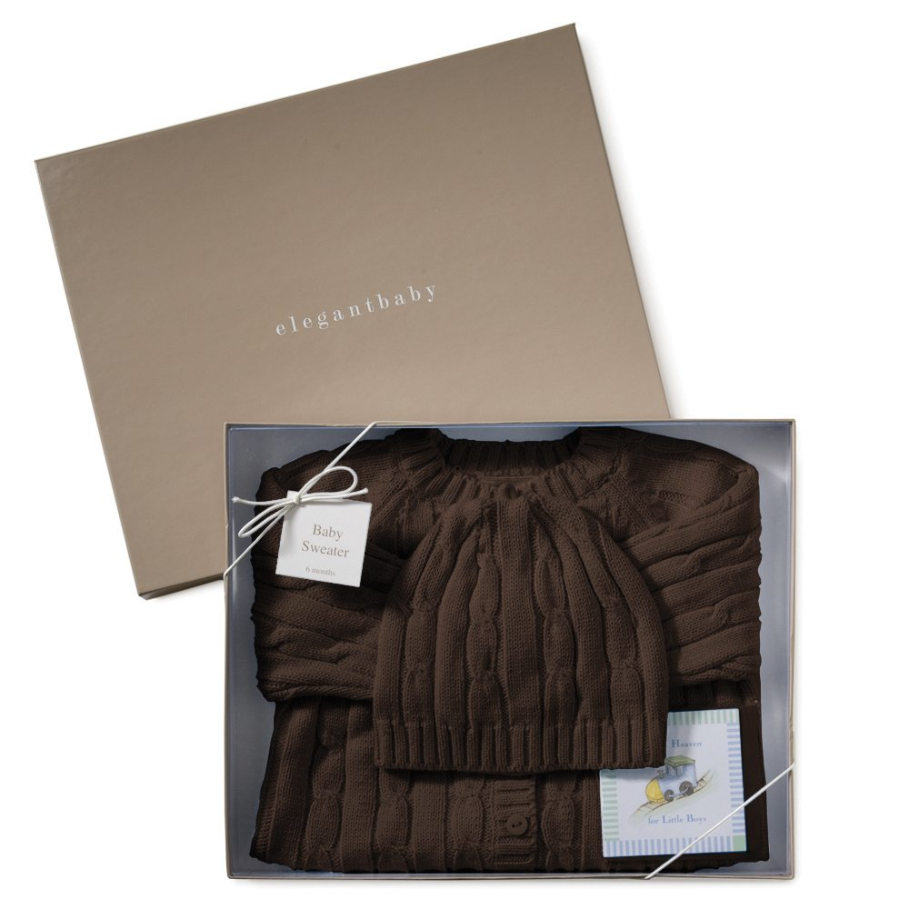 21c056a3bc84 Amazon.com   Elegant Baby 100% Cotton Cable Knit Sweater in Gift Box ...