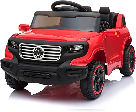 VALUE BOX Electric Remote Control Truck, Kids Toddler Ride On Cars 6V Battery Motorized Vehicles Children's Best Toy Car Safe with 3 Speeds, Music, seat Belts, LED Lights and Realistic Horns (Red)