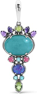 product image for Carolyn Pollack Sterling Silver Blue Apatite, Peridot, Tourmaline and Amethyst Gemstone Pendant Enhancer