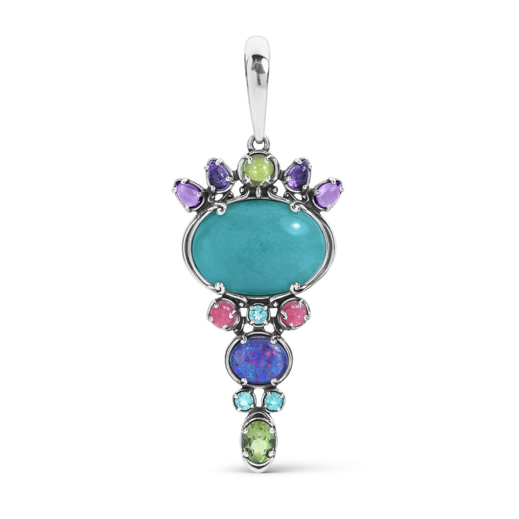 Carolyn Pollack Sterling Silver Gemstone Pendant Enhancer with Pastel Color Stones
