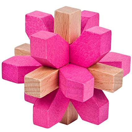 Adeeing Colorful Wooden Plum Blossom Lock Kids Stress Reliver Puzzle Toy