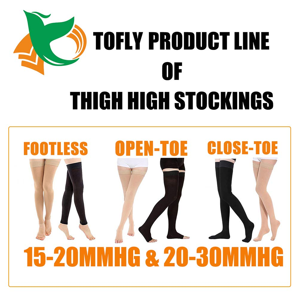 TOFLY Thigh High Compression Stockings, Opaque, Firm Support 20-30 mmHg Gradient Compression with Silicone Band, Open-Toe Compression Stockings, Treatment Swelling, Varicose Veins, Edema, Black L by TOFLY