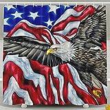 BINGO FLAG Funny Fabric Shower Curtain USA Flag Eagle Waterproof Bathroom Decor With Hooks 60 X 72 Inch