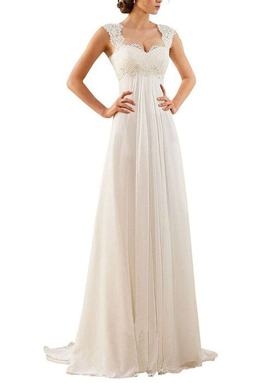 60f9cdf0f9d Amazon.com  Ri Yun Women s Lace Chiffon A Line Empire Wedding Dresses For  Bride 2018 Long Beach Wedding Dresses Bride Gown Plus Size  Clothing