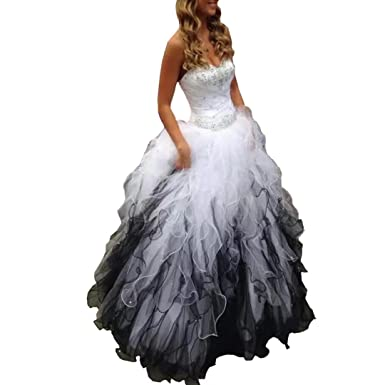 8bf2afd782e TC Bride 2018 Sweetheart Beaded Quinceanera Dress Puffy Ombre Organza Ball  Gown Prom Dress Black White