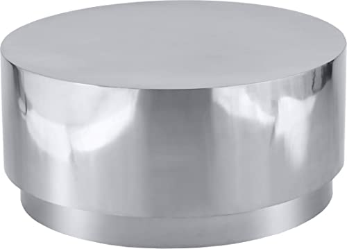Meridian Furniture Jazzy Collection Modern | Contemporary Stainless Steel Drum Shaped Coffee Table