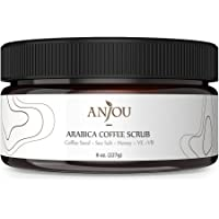 Anjou Arabica Coffee Scrub 8 oz with Honey, Sea Salt, Jojoba Oil (For Face and Body, Natural Exfoliate and Cellulite Treatment, Skin Moisturizer and Purifier)