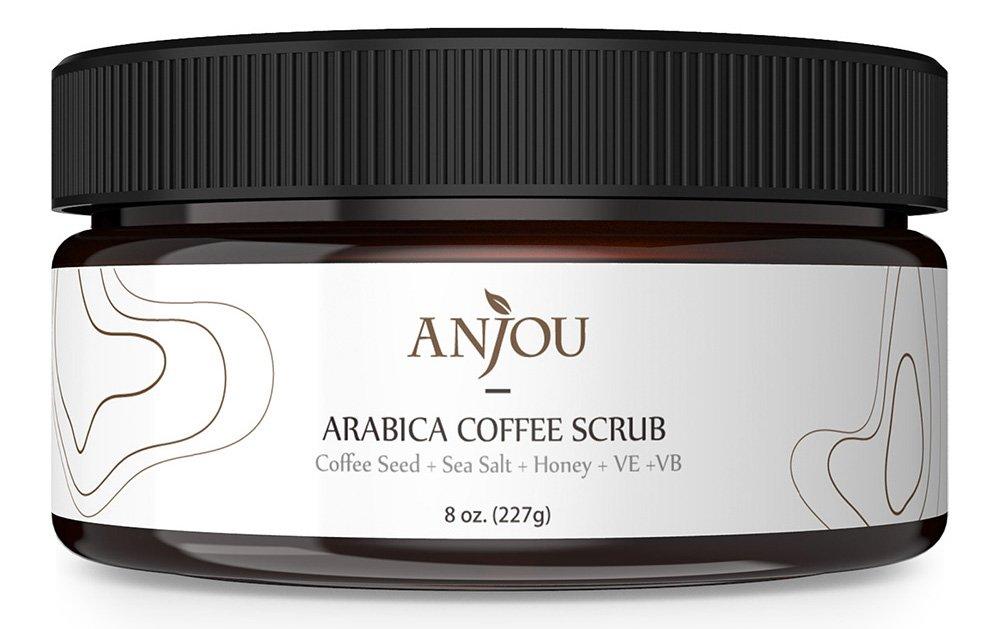 Trippix Arabica Coffee Scrub 8 oz with Honey, Sea Salt, Jojoba Oil (For Face and Body, Natural Exfoliate and Cellulite Treatment, Skin Moisturizer and Purifier) AJ-ES009