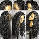 Luckysnow Kinky Curly Lace Front Human Hair Wigs Pre-Plucked Brazilian Virgin Hair Glueless Front Lace Wigs with Baby Hair 130% Density