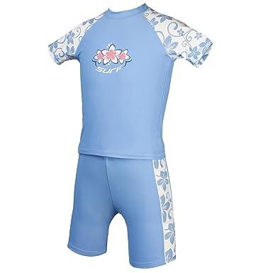 51edc8e553 Kidz Swimmers Girls UV Sun Protection Rash Vest and Swim Shorts UPF 50+  Placid Blue