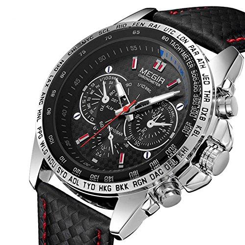LYMFHCH Fashion Design Mens Watch with 3eye Decoration Dials and Nail Scale Quartz (Black)