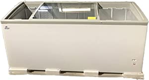 """72"""" White Commercial Sliding Curved Glass Top Display Chest Freezer"""