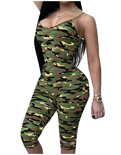 d7c47517183 Winwinus Women s Basic Style Sling Bodycon Camo Romper Playsuit Jumpsuit  Army Green XS