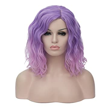 Mildiso Wigs Women s Short Bob Costume Wig Purple to Pink Ombre Wig  Halloween Costume for Women 20337e5ea