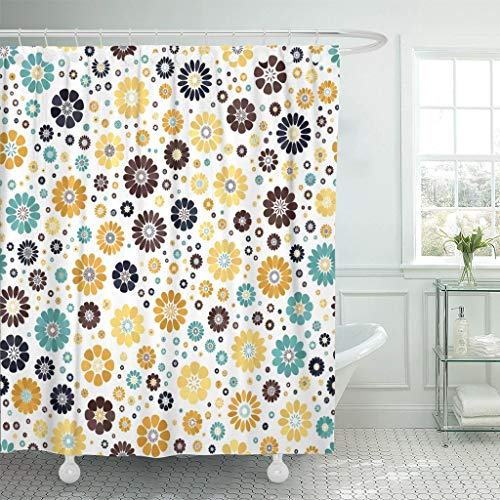 "YGUII Yellow Mustard Dark Blue Azure Chocolate Spot Flower White Mid Century Mod Waterproof Shower Curtain Curtains Extra Long 72""X84"" Decorative Bathroom Odorless Eco Friendly"
