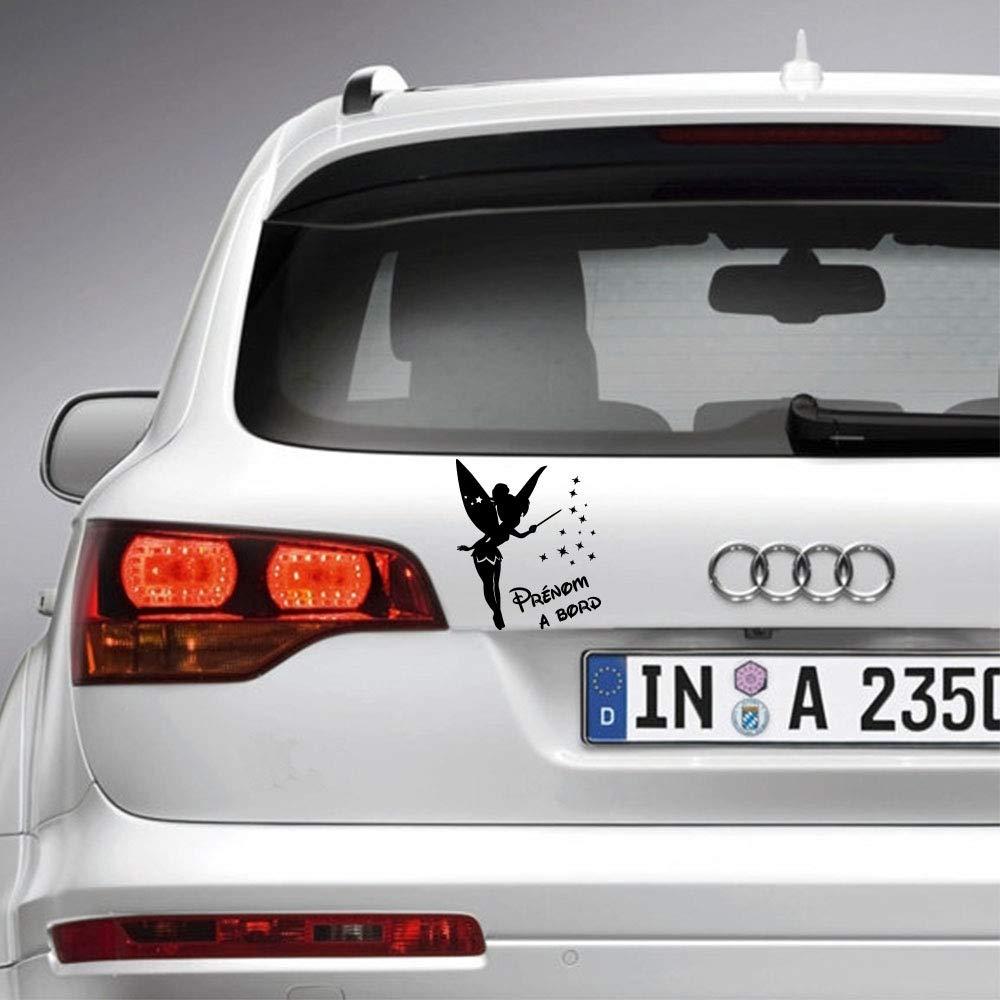 Sticker b/éb/é /à bord pour voiture Pr/énom Personnalis/é Petite F/ée 20 cm Noir Anakiss