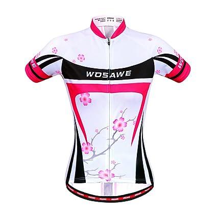 WOSAWE Women Summer Bicycle Cycling Jersey MTB Bike Sportwear Plum flower S  size ca1a99b19
