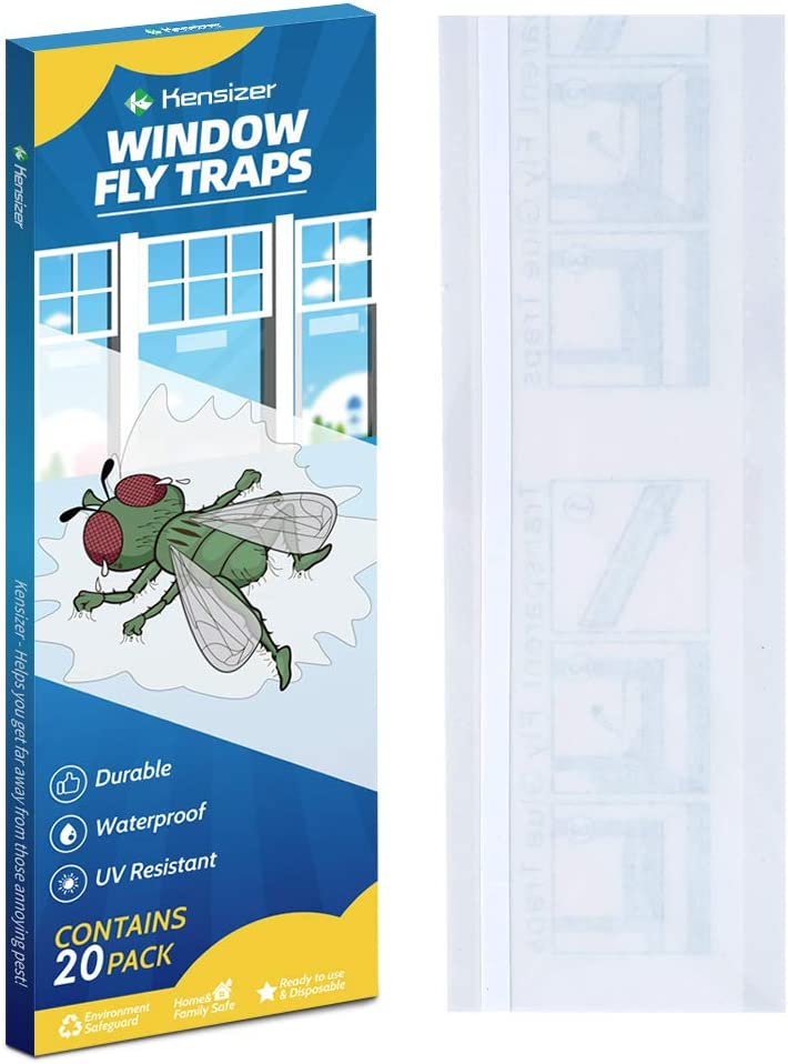 Kensizer 20-Pack Window Fly Traps, Fly Paper Sticky Strips, Fly Catcher Clear Windows Trap for Home, House Fly Killer Lady Bug Traps Indoor