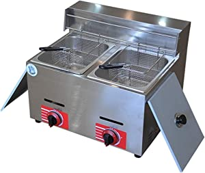 Commercial Deep Fryer Gas Fryer,Stainless Steel Skillet & Pulse Ignition Large Capacity Chicken Deep Fryer For Commercial And Home Use Food Cooking French Fries Chicken Shrimp 1111