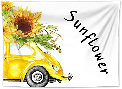 HVEST Sunflower Tapestry Wall Hanging Yellow Flowers on Yellow Car Wall Tapestry Spring Summer Tapestry Floral Sunflower Backdrop for Bedroom Living Room Dorm Party Decor, 92.5Wx70.9H inches