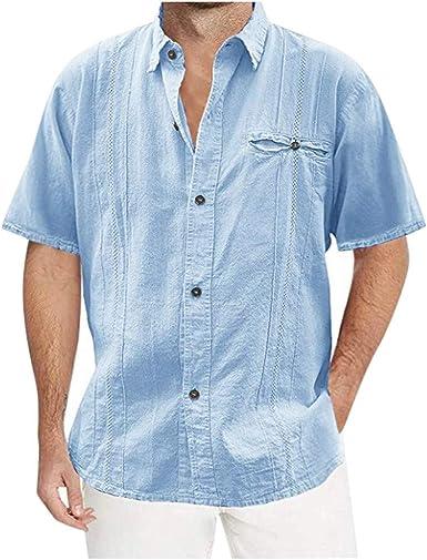 CAOQAO Camisa Hombre Manga Larga Corta Casual Cuello Vuelto botón Playa sólida: Amazon.es: Ropa y accesorios
