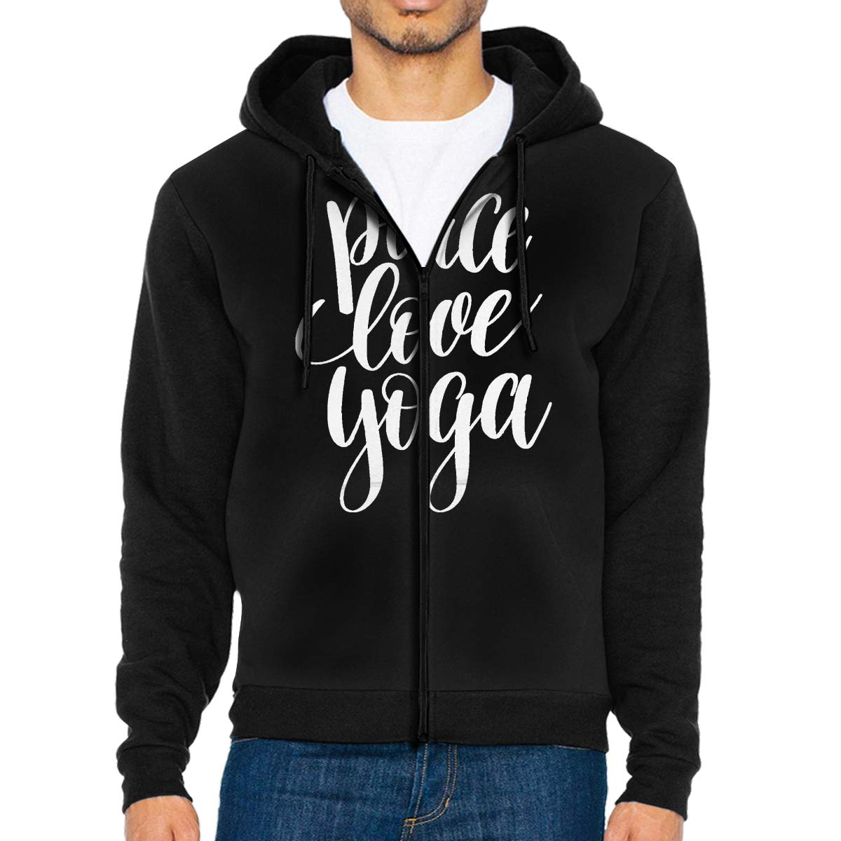 Peace Love Yoga Mens Full-Zip Up Hoodie Jacket Pullover Sweatshirt