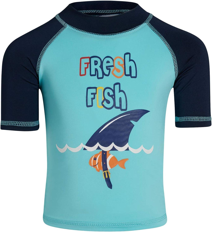 Sweet /& Soft Boys UPF 50 Boys Short Sleeve 4 Piece Rash Guard /& Trunk Swimsuit Set Infant//Toddler//Big Kid