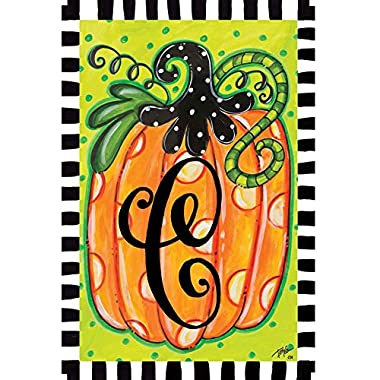 Polka Dot Pumpkin C Monogram 12 X18  Garden Flag - Custom Decor