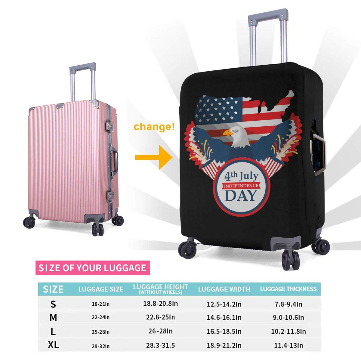 4 Size Eagle Map Badge Flag Printed Business Luggage Protector Travel Baggage Suitcase Cover