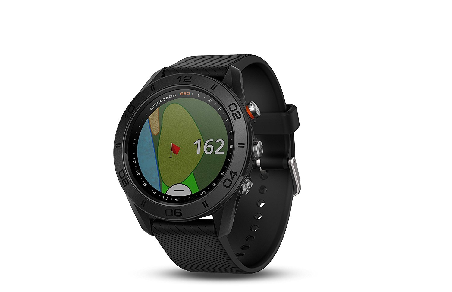 Garmin Approach S60, Premium GPS Golf Watch with Touchscreen Display and Full Color CourseView Mapping, Black w/Silicone Band + 1 Year Extended Warranty by Garmin