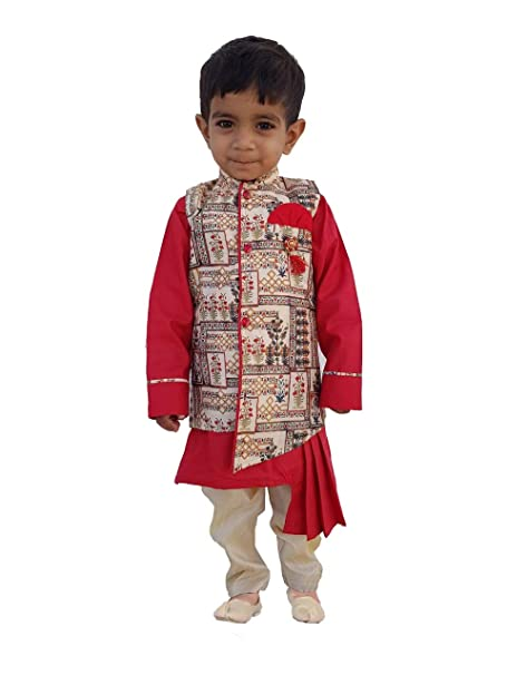 35a28bbfa898 FELIZ THE DESIGNER STUDIO Kids Indian Ethnic Collection Waistcoat Kurta and  Pyjama Set for Boys_420 (