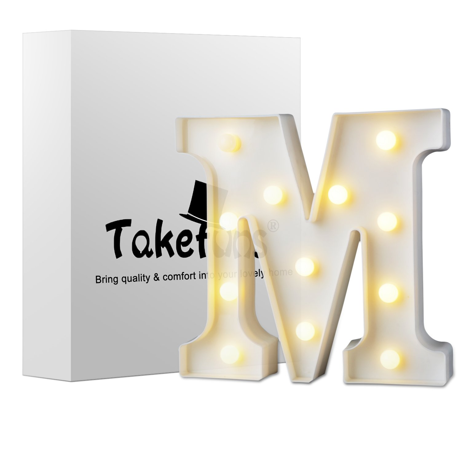 Takefuns Decorative LED Illuminated Letter Marquee Sign - Alphabet Marquee Letters with Lights for Wedding Birthday Party Christmas Night Light Lamp Home Bar Decoration R,Warm White