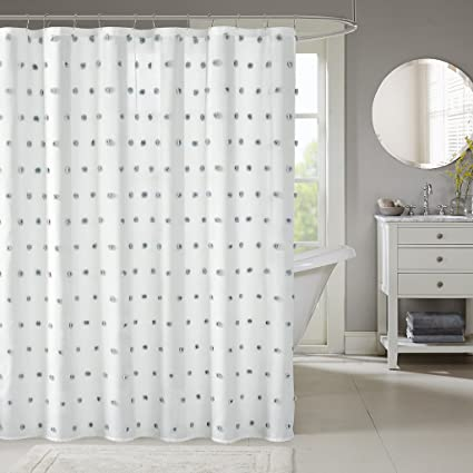Sophie Fabric White Shower Curtain Polka Dots Casual Solid Curtains For Bathroom 72