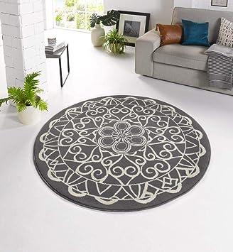 Zala Living Mandala Rund O140 Designer Velours Teppich Polypropylen