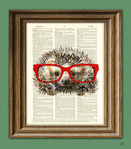 Hedgehog Smarty Pants Hedge hog with red glasses illustration beautifully upcycled dictionary page book art print - Hedgehog Print