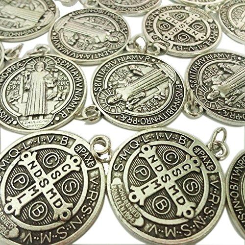 Saint Benedict Medal - Lot of 25 Saint St Benedict of Nursia Patron Against Evil Medal Pendant 1 1/4 Inch