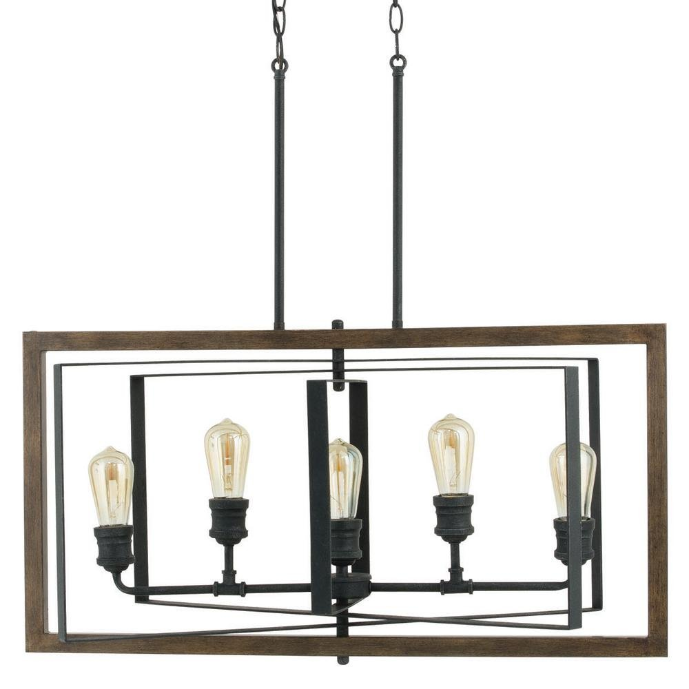 Home Decorators Collection Palermo Grove 5 Light Black Gilded Iron Linear Chandelier Com