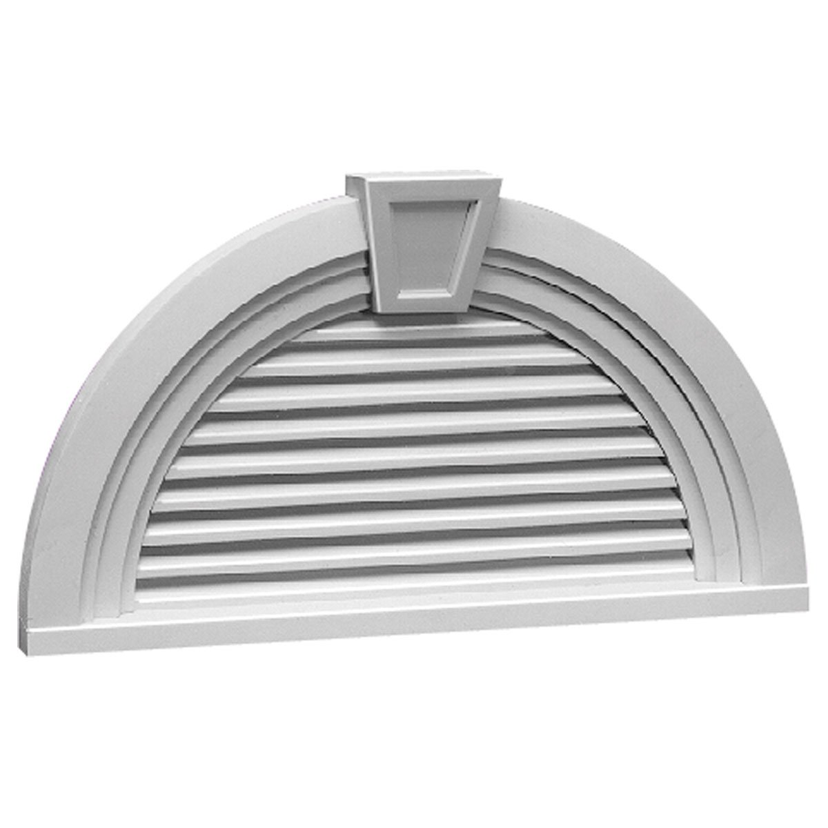 Fypon HRLV36X18MTK 36''W x 18''H Half Round Decorative Louver with Decorative Trim and Keystone by Fypon