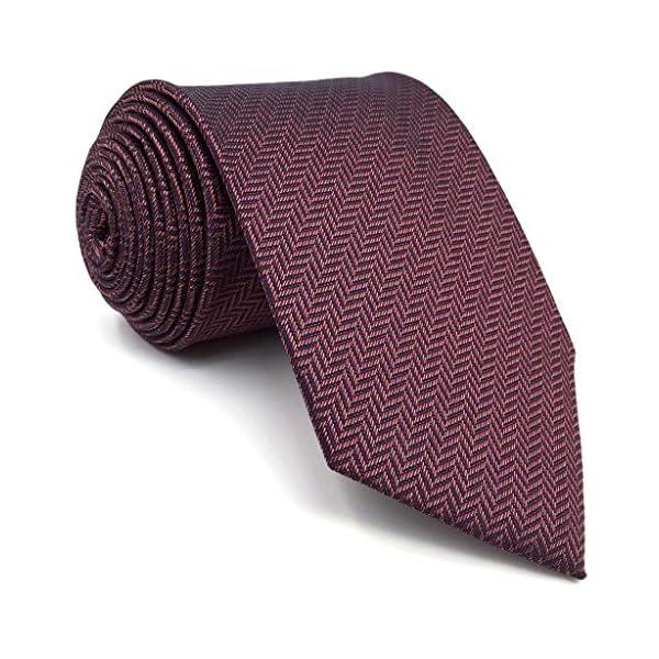 Shlax&Wing Solid Color Burgundy Purple Ties For Men Silk Necktie Set Business Wedding