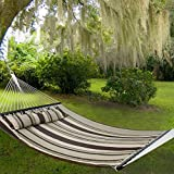 Nova Microdermabrasion Updated Quilted Fabric Hammock with Pillow Double Size Spreader Bar Heavy Duty Portable Outdoor Camping Hammock for Outdoor Patio Yard (480lbs Capacity) (Blue) (Gray)