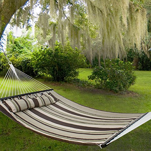Nova Microdermabrasion Updated Quilted Fabric Hammock with Pillow Double Size Spreader Bar Heavy Duty Portable Outdoor Camping Hammock for Outdoor Patio Yard (480lbs Capacity) (Blue) (Gray) by Nova Microdermabrasion