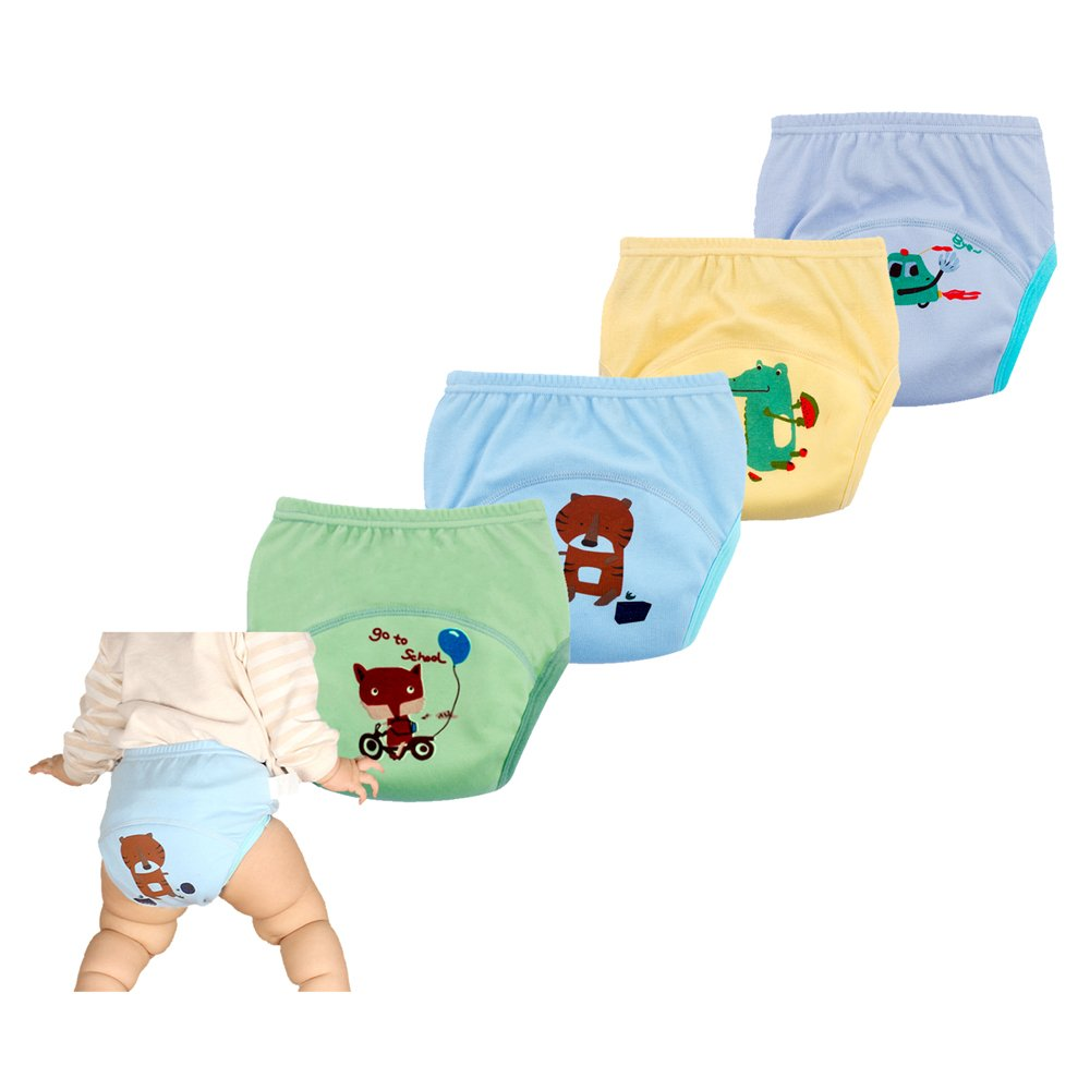 smart sisi Anti Leakage Potty Training Pants for Babies, Toddler 6 Layers Potty Training Pants 4 Pack (120 Blue)