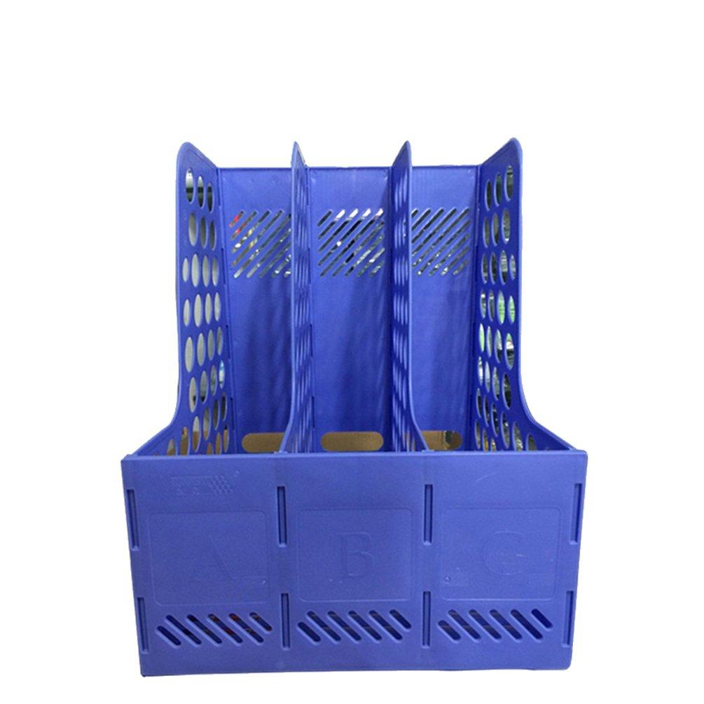AODEW File Holder Blue Desktop Magazine Book Paper Holder File Holders Organizer Office School 3/4 Lattices Mesh Plastic A4 Magazine