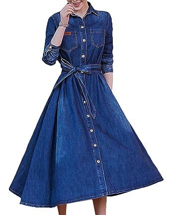 c5eebed034f4 Scothen Robe en Denim à Manches Longues pour Femmes Robe Longue à Manches  Longues Printemps
